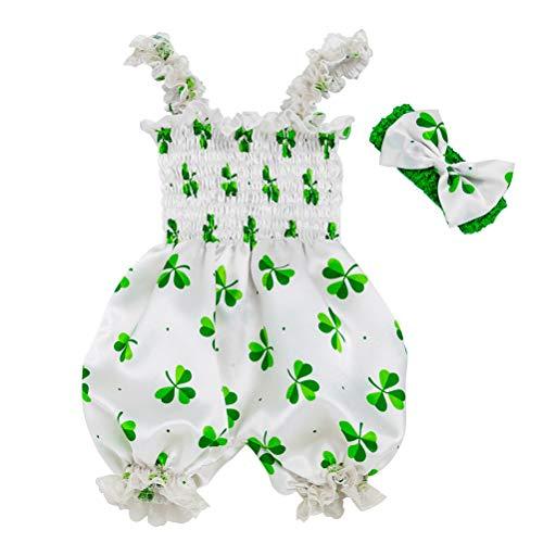 Amosfun St.patrick's dag jumpsuit hoofdband set wit groen shamrock romper festival kostuum voor baby (Maat 73)
