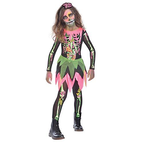 amscan- Neon Girl Costume-Age 10-12 Years-1 Pc Disfraz de nia zombi nen, 10 a 12 aos, 1 unidad, Multicolor (9904781)