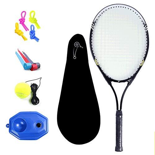 Rebily Tennisschläger Anfänger Have Threaded Entry-Level-Anfänger Trainings Racket Jasmine Gelb zu senden Trainingsgerät, String Tennis, Stoßdämpfer Knot, Handgel, Schläger (Color : Schwarz)