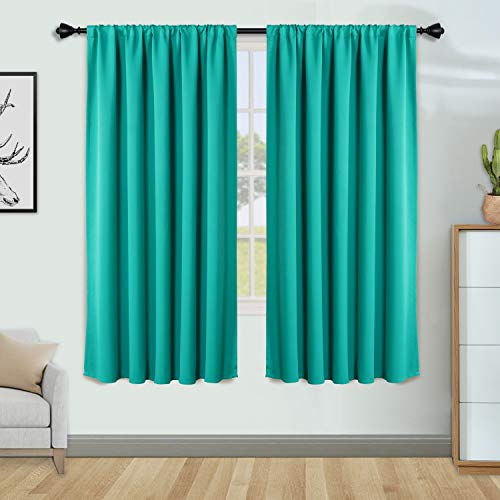 FLOWEROOM Blackout Curtains for Bedroom - Thermal Insulated, Energy Saving and Noise Reducing Rod Pocket Window Curtain Panels for Living Room, Turquoise, 52 x 45 inch, 2 Panels