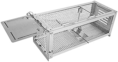 RatzFatz Mouse Trap Humane Live Animal Cage, Catch and Release Mice, Rats, Chipmunks, Squirrels, Hamsters and Other Rodents, Sensitivity Adjustable, Pedal Design