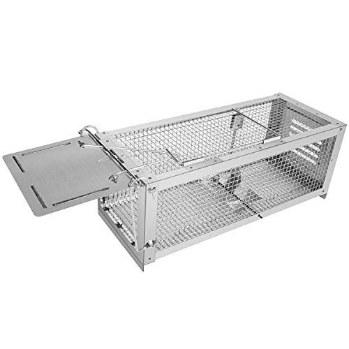 RatzFatz Mouse Trap Humane Live Animal Cage Catch and Release Mice Rats Chipmunks Squirrels Hamsters and Other Rodents Sensitivity Adjustable Pedal Design