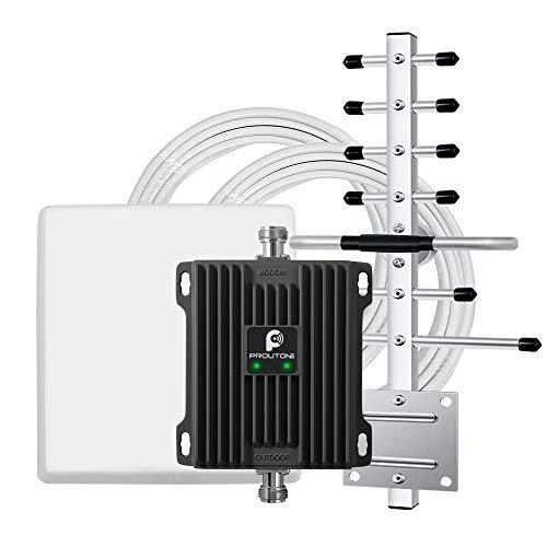 Proutone Repetidor 4G 3G gsm UMTS Mejora Velocidad de Datos y Calidad de Voz Vodafone Orange Movistar Yoigo Amplificador de Cobertura Señal Banda3 Banda8 Rurales Oficina Casa