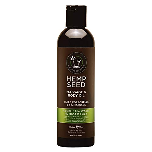 Hemp Seed Massage & Body Oil, Naked in the Woods Scent - 8 fl. oz. - Nourishing, Moisturizing Massage Oil - Hemp Seed, Apricot, Grapeseed & Sweet Almond Oil - Vegan & Cruelty Free