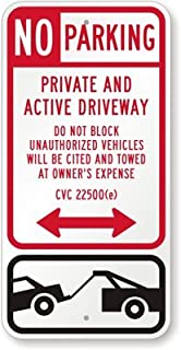 no parking active driveway signs