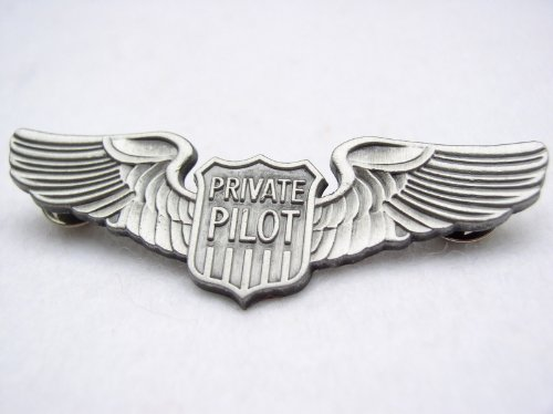 PRIVATE PILOT FLIGHT WINGS LARGE PIN PRIVATE AIRPLANE FLIGHT SCHOOL BADGE