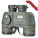 10x50 Marine Military Binoculars Waterproof Fog Resistant, BAK4 Prism FMC Lens,with Rangefinder Compass
