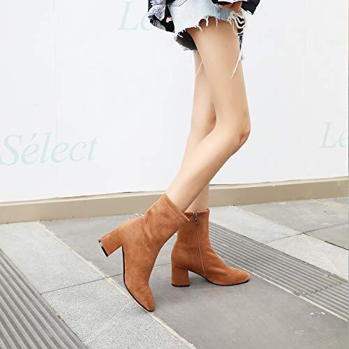Shukun Enkellaarzen Skinny Laarzen Herfst En Winter Stretch Sokken Laarzen Women'S Dik Met hak Laarzen Zwart Martin Laarzen