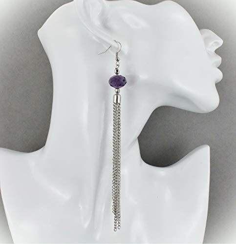 Purple Silver Tassel Earrings For Women Set Fringe Chain Approximately 5.5