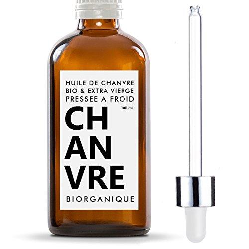 Huile de Chanvre 100% Bio, Pure et Naturelle - 100 ml - Soin pour Cheveux, Corps, Peau, Anti-âge, Visage.