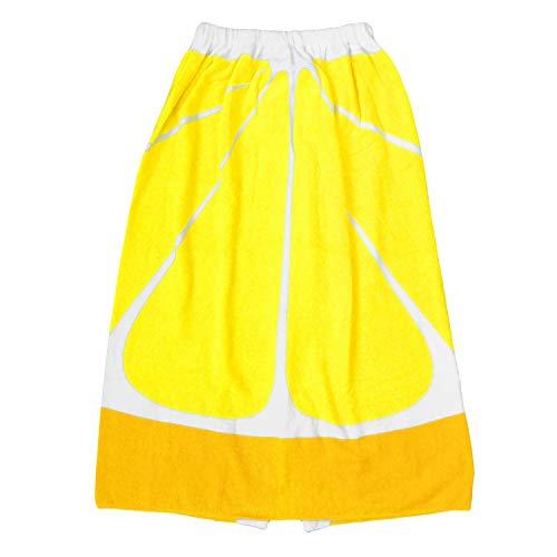 巻きタオル 子供 女の子 フルーツ柄 ラップタオル 80cm レモン 80x120
