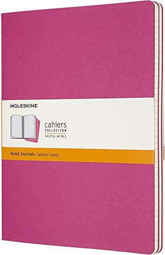 Moleskine Cahier Journal (3er Set Notizbücher mit karierten Seiten, Kartoneinband und Baumwollstickerei, Extra Large 19 x 25 cm, 120 Seiten) Kinetisches Pink