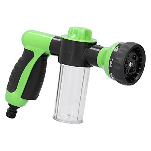 Dispensador de espuma de pistola de agua Akozon, limpiador de lavadora de 8 modos de salida, alta presión para coche, casa, jardín, pistola de agua de espuma, coche portátil(verde)