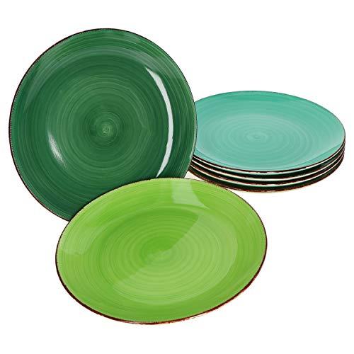 MamboCat 6er Green Baita Speiseteller grüner Landhausstil I Ø 27 cm I Essteller I Rustikale Optik I Steingut