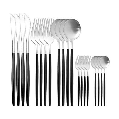 20pcs Rose Gold Cutlery Set Cuchillo Cake Fork Coffee Spoon Set Takeware Set Steel Vajeros Occidental Cocina Sildeware Set (Color : Black Siler)