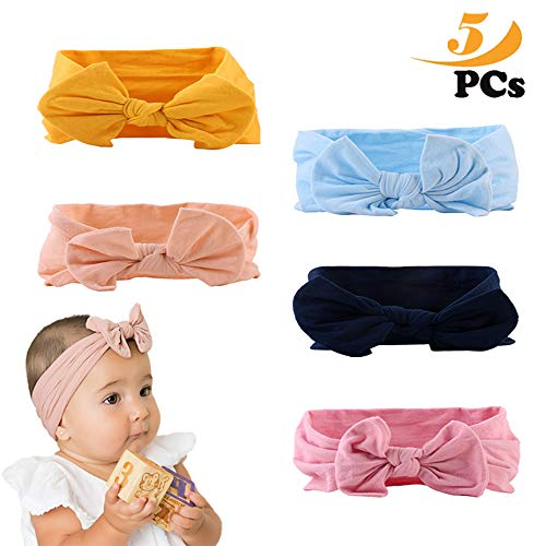 ZoneYan Baby Headbands, 5 pcs Headband Multicolored and Elastic Hair Band Bow Tie Bow for Kids Baby Girl