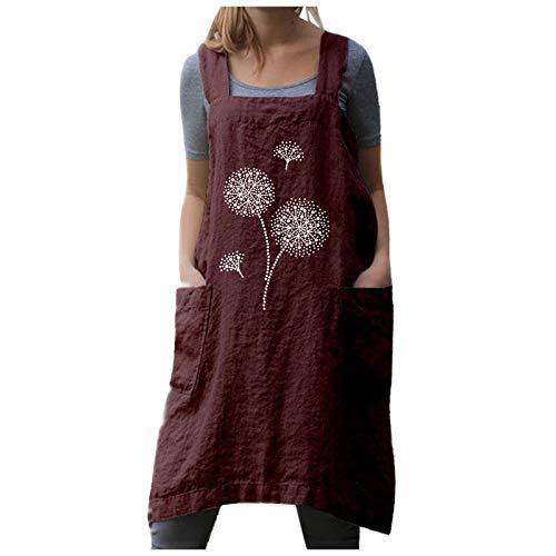 GLZBD 2021 - Vestido de manga larga para mujer, falda larga con bolsillos duros, vestido de flor, talla grande, estilo vintage, vestido de lino Rojo9 XXL
