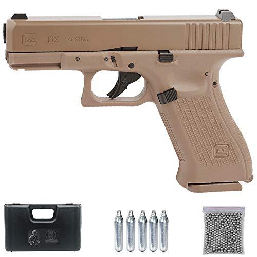 Ecommur Glock 19X Coyote CO2 | Pistola de balines (Bolas BB's de Acero) y Aire comprimido (CO2) Calibre 4,5mm Color Tan, Tipo Militar