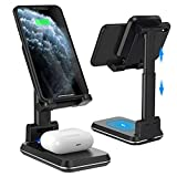 Tiluza Wireless Charger, 2 in 1 Dual Wireless Charging Stand,Adjustable Phone Holder for Desk 10W Qi Fast Charger Compatible with iPhone 11/Pro/Xs/Max/XR/X/8/8P Samsung S10/S9/S8/Note10