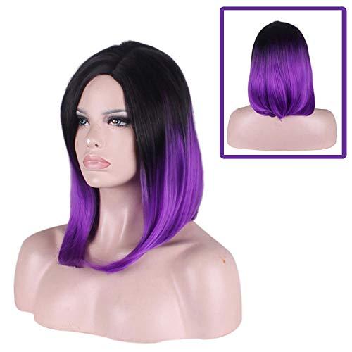Perruque longue et droite violet moyen dégradé violet