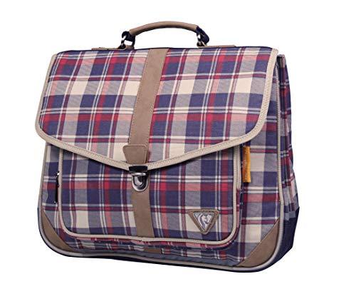 Clairefontaine Classic Bag 8012C Cartable 2 compartiments 38 cm 100% coton/finition simili cuir Bleu