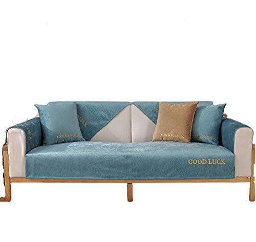 Chenille Soft Cushion Moderner minimalistischer Couchbezug Anti-rutsch Sectional Sofa Covers for l Shape Sofa Throw slipcover Für Sofa,Blue,110*210cm