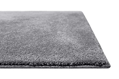 Homie Living | Kurzflor Teppich Super Soft, weich und kuschelig für Wohnzimmer, Schlafzimmer, Flur oder Kinderzimmer | Venice | Grau | (80 x 150 cm)
