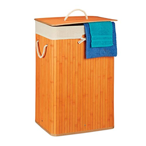 Relaxdays, Cesto de ropa de bambú con tapa, rectangular, XL 83 L, Papelera plegable, HW 65.5 x 43.5 x 33.5 cm, naranja