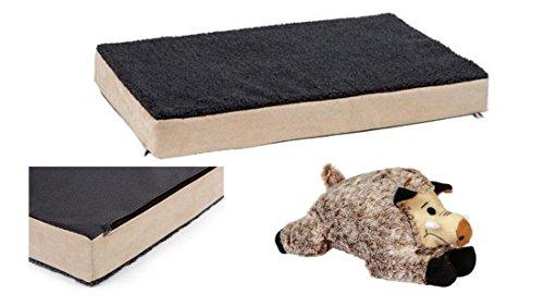 orthopädisches Hundebett 100 x 60 x 8 cm Gesundheitsbett druckentlastend mit Plüschtier Spieltier Wildschwein Memory-Foam Matratze Hundematratze Hundekissen Bezug waschbar