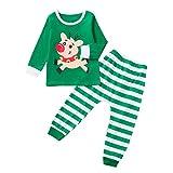 POLP niño Navidad Ropa niñas Unisex Pijama Bebe Navidad Regalo Estampado de Navidad Manga Larga Santa Claus Camiseta Tops Mameluco de Estampado Hermano y Hermana 1pc 12M-3T