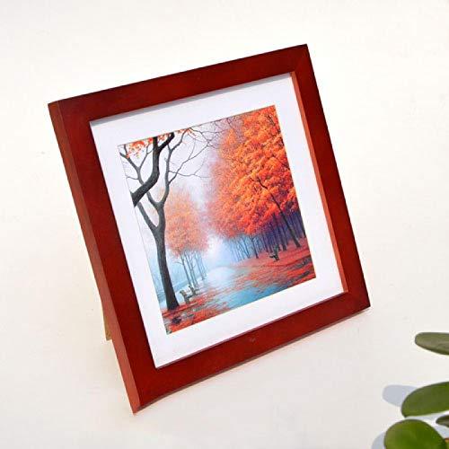 Fyrkantig familj fotoram bord & hängande vägg kvalitet massivt trä bildram bröllopsrum foton gåva 6 tum-15,2x15,2 cm rödved