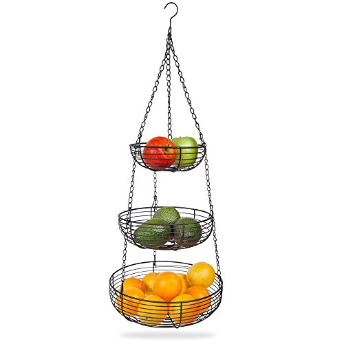 Home Intuition 3-Tier Hanging Basket Heavy Duty Wire, Round, Black