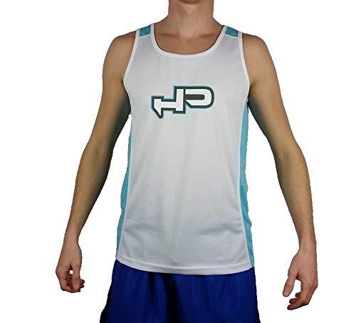 HIGH POWER HP Canotta Smanicato Beach Tennis Uomo Ragazzo Training (Bianco Azzurro, Medium)