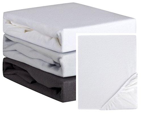Aminata-Home – 21371 - weiche Spannbettlaken - Biber Feinbiber * Made in Germany * - 90x200 cm / 100x200 cm – Weiß