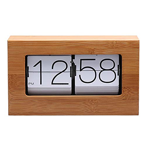 Flip Bambus Retro Down-Uhr Auto-Flip Clock Flip Clock - Interne Getriebe betrieben Taktgeber für Hauptdekor Tisch -Natural Bambus,Weiß