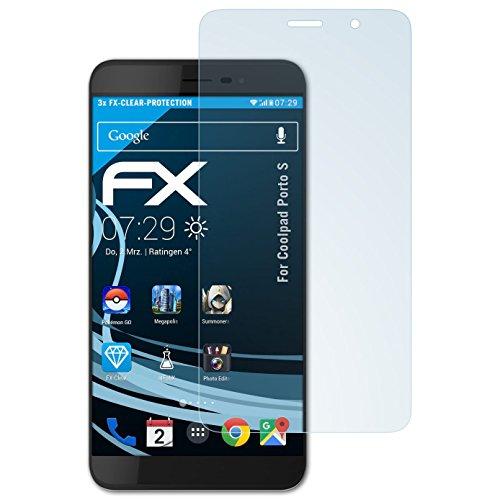 atFolix Schutzfolie kompatibel mit Coolpad Porto S Folie, ultraklare FX Bildschirmschutzfolie (3X)