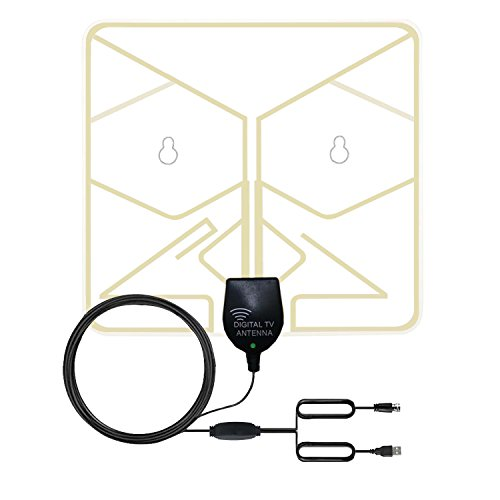 TV Aerial Indoor 1080P Digital HDTV Antenna 50 Miles Transparent Digital HDTV Antenna,USB Power Supply o.5mm Paper Thin Transparent Window Aerial with Detachable Amplifier Signal Booster