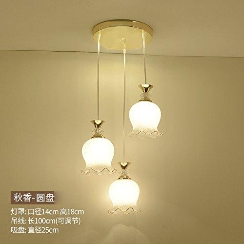Luckyfree Moderne fabriek ramen glas hanglamp kamer bar café restaurant keuken hal lampen plafondlamp kroonluchter, bloem disc drie+LED 9 Watt