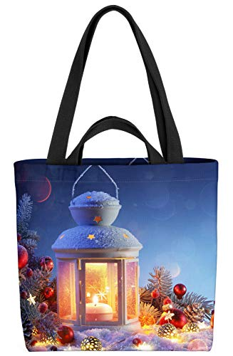 VOID Winter Laterne Tasche 33x33x14cm,15l Einkaufs-Beutel Shopper Einkaufs-Tasche Bag
