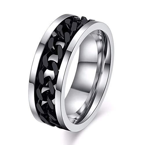 CHCO 8Mm Spinner Ring pour Hommes en Acier Inoxydable Cuba Chaîne De Mariage Hommes Anti Stress Bijoux 7 Noir Argent