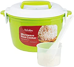 Andcolors Microwave Rice Cooker Steamer - Complete Set - Makes 2 to 4 servings - FDA Approved, BPA Free, Food Grade Plastic - Dishwasher Safe - Includes Rice Paddle & Measuring Cup