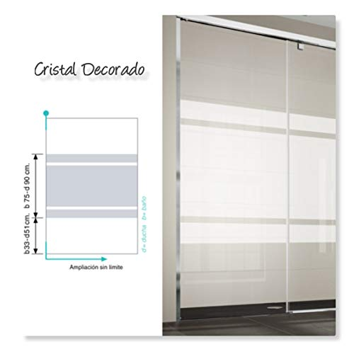 Frente de ducha S300, puerta plegable CRISTAL DECORADO