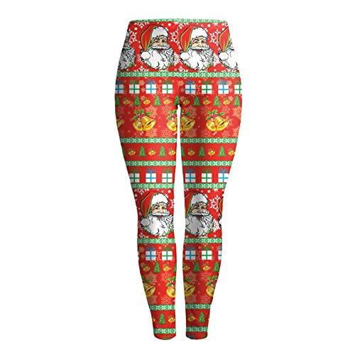 LCHENX-Leggings con Estampado Digital Santa Christmas para Mujer,Leggings de Yoga de Longitud Completa Fitness Running Medias de Pilates Pantalones Pitillo,B,XL
