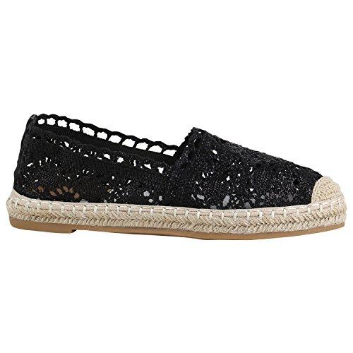 stiefelparadies Damen Schuhe Slipper Espadrilles Bast Spitze Flache Freizeitschuhe 157075 Schwarz Bast Spitze 37 Flandell