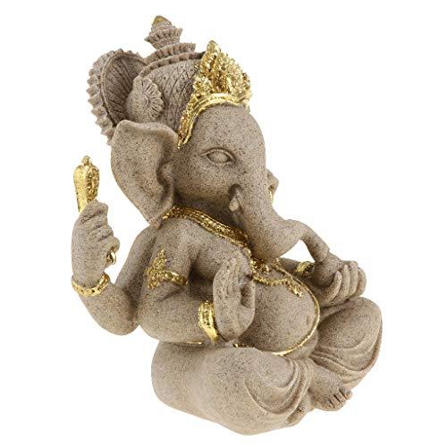 B Blesiya Handgefertigte Sandstein Elefant Ganesha Buddha Deko Figur Skulptur Glücksbringer