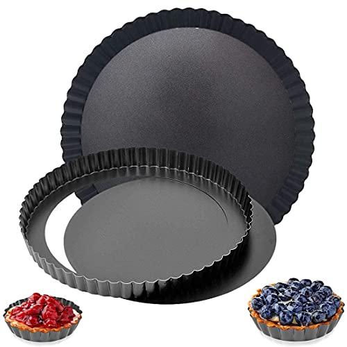 2 Pack Antiadherentes Moldes para Quiche, Tart Pan Round Quiche Tartas Fondo Extraíble Juego para Queso y Pizza (12cm & 22cm)