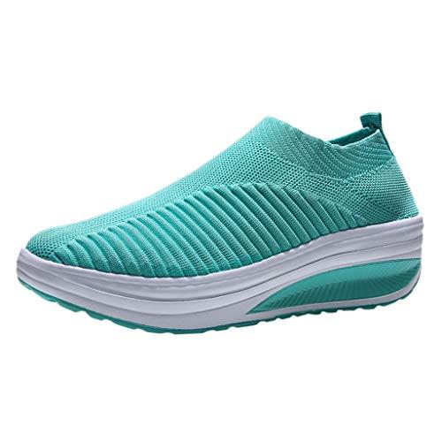 Sportschuhe Damen Mode Laufschuhe Socken Schuhe Mesh Freizeitschuhe Soft Bottom Schaukelschuh Student Working Sneakers Fliegengewebte Slip-On Schuhe aus Mesh, Blau, 36 EU