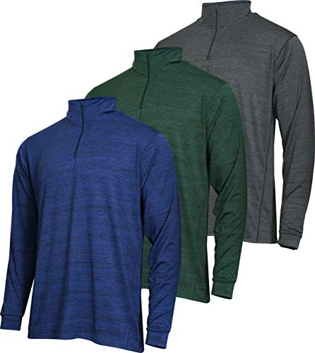 Mens Quarter 1/4 Zip Pullover Long Sleeve Athletic Quick Dry Dri Fit Shirt Gym Running Performance Golf Half Zip Top Thermal Workout Sweatshirts Sweater Jacket - 3 Pack-Set 6,L