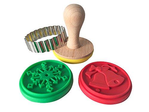 Keksstempel-Set con motivos navideños, Biscotti-juego de sellos, diseño de galletas, con diseño de 3 diseños diferentes + cortador + de recetas para diseño de sellos para galletas