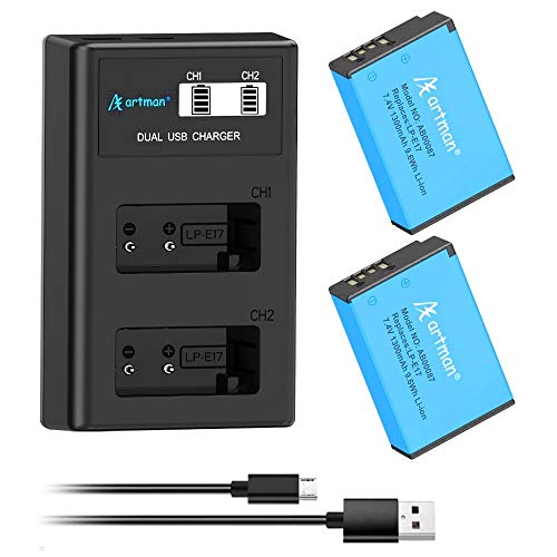 Artman 2-Pack LP-E17 Upgraded Batteries and LCD Dual Charg...